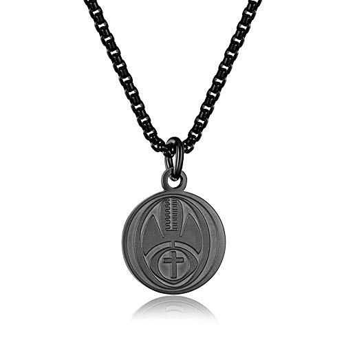INRENG Athletes Sports Cross Pendant Necklace for Men Women Faith Prayer Inspiring Luke 1:37 Bible Verse on Back Football Charm Black 2 (Inspiring Football)