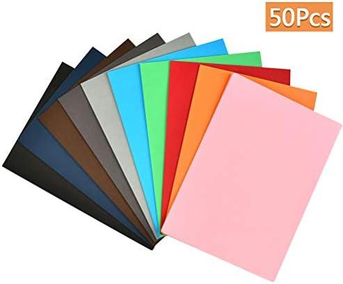 WOWOSS 50 Blatt DIN-A4 Foto-Karton bunt, Bastel-Papier, Bogen durchgefärbt, 10 verschiedenen Farben, 300g, Ton-Zeichen-Pappe zum Basteln, buntes Blätter-Set farbig, DIY-Bedarf