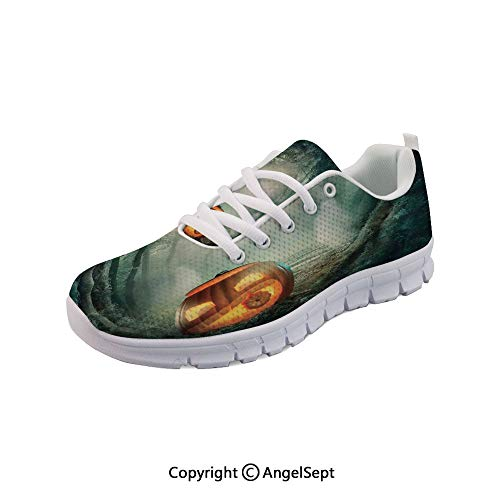 SfeatruAngel Athletic Running Shoes Halloween Pumpkin Enchanted Forest Party Lightweight -