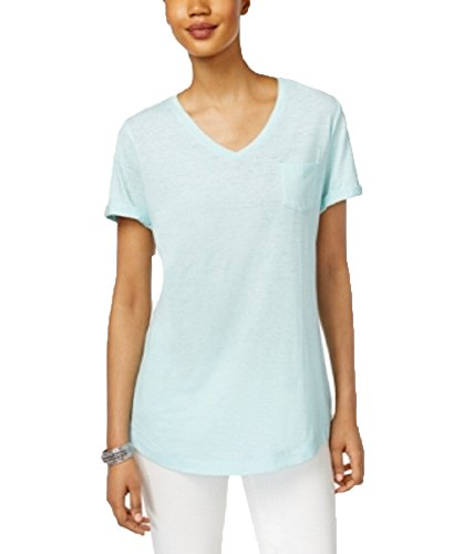 Style & Co. V-Neck Burnout Pocket T-Shirt (Aqua Brook, XS)