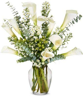 Flowers - Sympathy Calla Lilies - Premium (Free Vase Included)