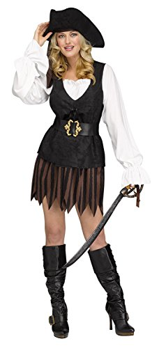 Fun World Women's S/m Rustic Pirate Maiden Adlt, Multi Color, Small/Medium -
