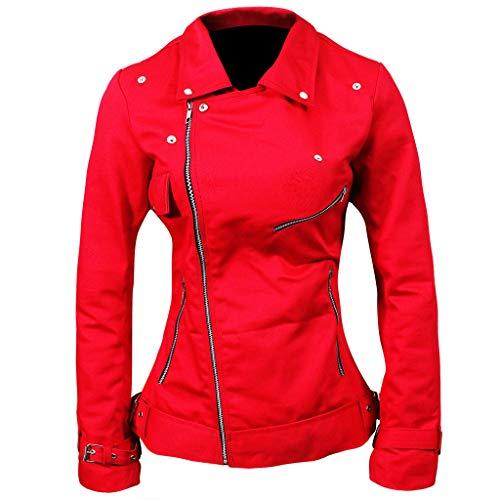- Novado Women Red Leather Biker Jacket- Slim-fit Belt Cuffs Bomber Jacket (Large)