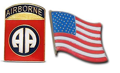 Patriotic 82nd Airborne & American Flag Lapel, Hat Pin, or Tie Tack Set with Clutch Back by Novel Merk