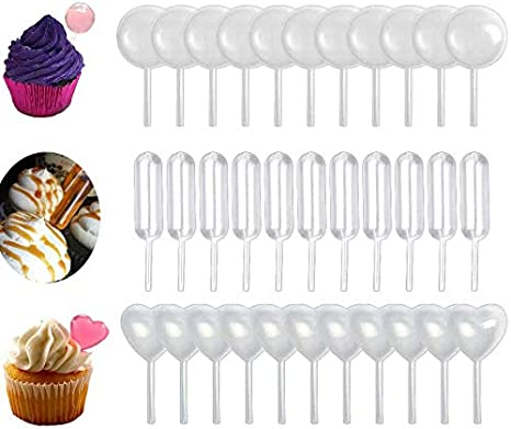 Cupcakes 150pcs 4ml Plastic Pipettes Heart Round Rectangular Plastic Squeeze Transfer Pipettes Suitable for Chocolate 4ML Pipettes Strawberries