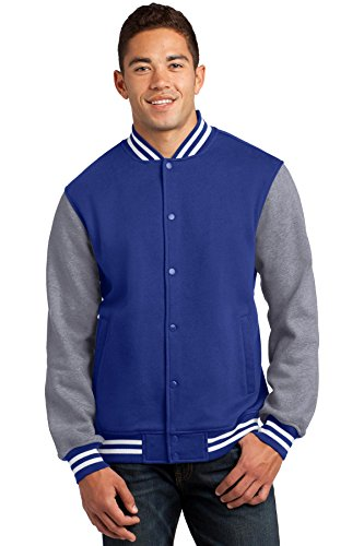 Sport Tek Men's Comfortable Fleece Letterman Jacket True Royal Blue Small