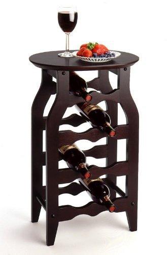 Espresso Oval Top 8 Wine Bottle Rack & Serving Table
