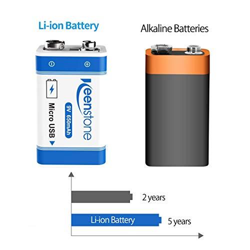 9V Block Batterien, USB Wiederaufladbar Lithium-Ion Bateria 650mAh E-Block PP3 Akku mit Micro-USB-Kabel für Tastatur Mikrofon Rauchmelder-Keenstone 4 Stück Blockbatterien