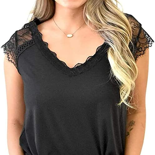 sreoci Women's Crochet Lace Basic V-Neck T-Shirts Short Sleeve Loose Fitting Tunic Tank Tops-Black-S