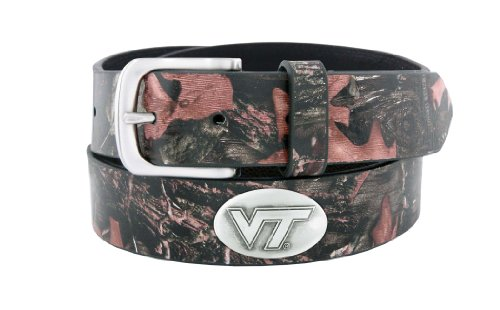 NCAA Virginia Tech Hokies Zep-Pro Leather Concho Tapered Tip Belt, Brown, 44-inches