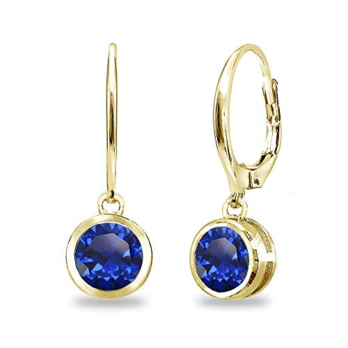 (Gold Flash Sterling Silver Created Blue Sapphire 6mm Round Bezel-Set Dangle Leverback Earrings for Women)