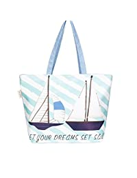 Fashion beach Bag Tote ,WALLYN'S Summer Large Roomy Toy Tote Bag ,Zipper Closure (Ship)