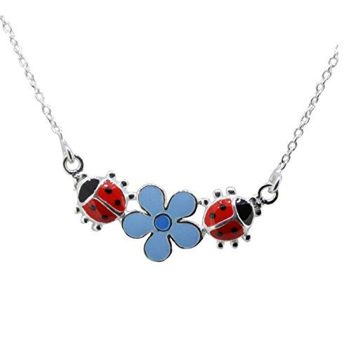 Cadena de Silver SL Remolque Infantil Mariquita flor azul 925plata en caja de regalo