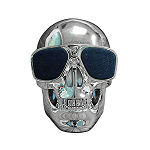 Botrong Excellent Design Plastic Skull Metallic Shape Portable Wireless Bluetooth Speaker (Silver)