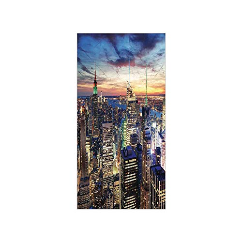 (3D Decorative Film Privacy Window Film No Glue,New York,Skyline of NYC with Urban Skyscrapers at Sunset Dawn Streets USA Architecture,Orange Blue,for Home&Office)