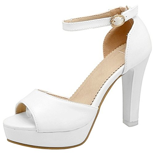 fdc76b435f0 Lovely Coolcept Mujer Moda Al Tobillo Sandalias Peep Toe Tacon Ancho Plataforma  Zapatos