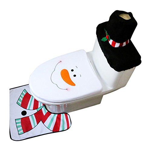 Hey Duckee Christmas Holiday Festive Toilet Seat Cover & Rug 3 Piece Set Three Decorative Styles to Choose from Santa Elf Santa Claus (Snowman) ()