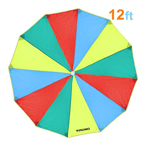 (WINOMO Kids Play Parachute Rainbow Kindergarten Early Education Toy for Party Sports Activities Group Exercise Outdoor)