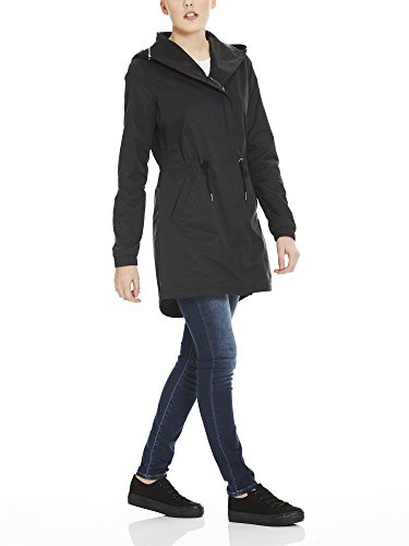 Beauty Hood Detachable Feminine Femme Manteau Coat black Noir Bench With Bk11179 H6wqZzx