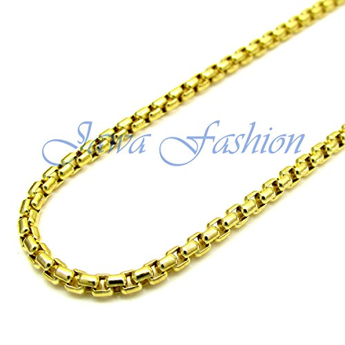 Necklace Gold Box Venetian 10k (Jawa Jewelers 10K Yellow Gold Men Women's 2.5MM Venetian Box Chain Lobster Clasp, 16 to 22 Inches (20))