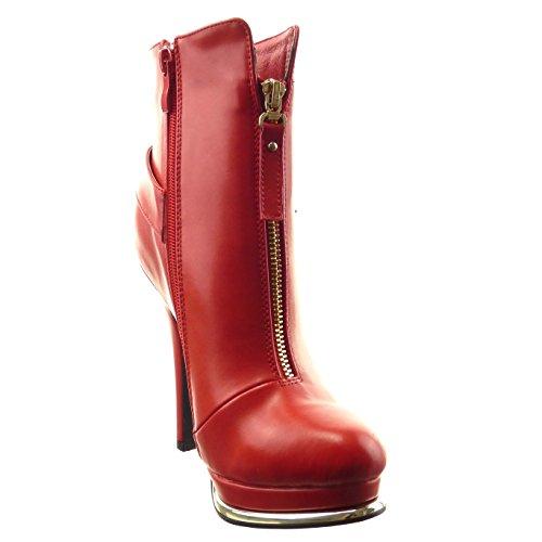 Sopily - Zapatillas de Moda Botines zapatillas de plataforma Tobillo mujer Hebilla metálico cremallera Talón Tacón ancho alto 12.5 CM - plantilla sintética - forradas en piel - Rojo