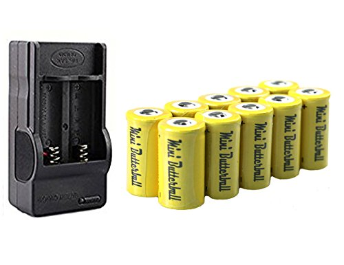 10 Pcs 3.7V 800mah Li-ion Rechargeable 16340 Batteries, Mini Butterball RCR123a Battery 123a Battery with 16340 Charger for Flashlight Camera