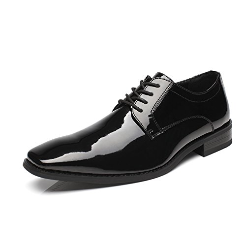 Faranzi Oxford Shoes for Men Patent Leather Plain Toe Tuxedo Oxford Mens Dress Shoes Zapatos de Hombre Lace Up Comfortable Classic Modern Formal Business Shoes - Leather Patent Leather Tuxedo