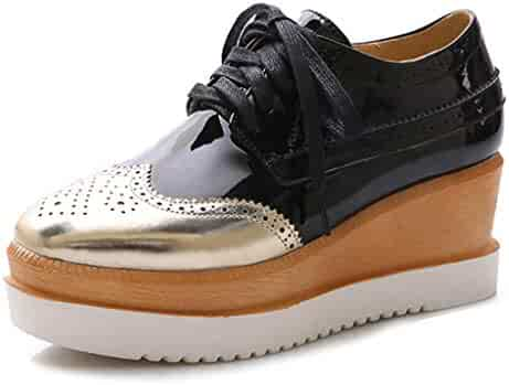 aea92f25a7d Women s Wedge Platform Oxfords Perforated Lace-up Pointed Toe Slip On  Vintage Oxford Dress Shoes