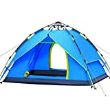 Yongtong 3-4 person 4 Season Tent, Automatic Pop Up Ultralight Tents, 2 Doors 2 Windows Anti-UV Windproof Waterproof, for Camping, Hiking, Travel, Hunting (Blue) For Sale