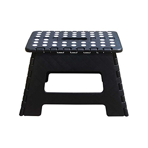 """Folding Step Stool with handle 12"""" wide of kids or adults heavy duty stepping stool for Kithchen,Bathroom,Bedroom (Black)"""
