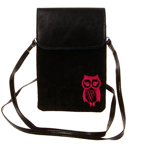 Kiss Gold Owl Print Vertical Mini Cotton Cellphone Pouch, Black