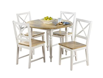 Bon Target Marketing Systems TMS 5 Piece Virginia Dining Set, White/Natural