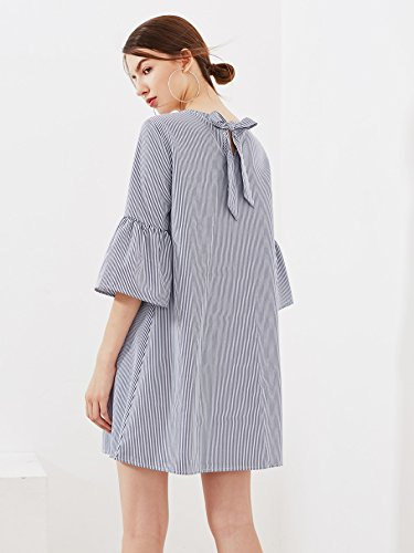 Stripe Dress Sleeve Navy Bell Tunic Floerns Women's Embroidered aSxFq