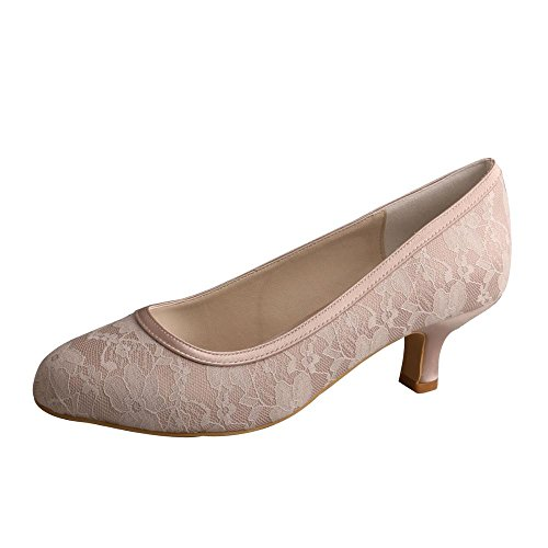 Wedopus Lace and Women's Heel Bridesmaid Satin MW858A Closed Nude shoes Toe Low r4rnq