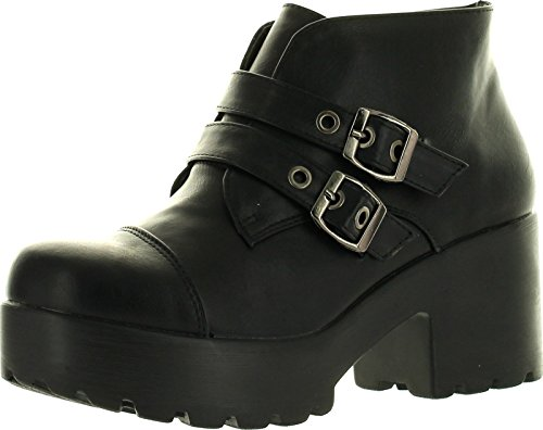 X2B Hayden-3 Women Round Toe Buckle Strap Side Zip Platform Chunky Ankle Booties,Black,8.5