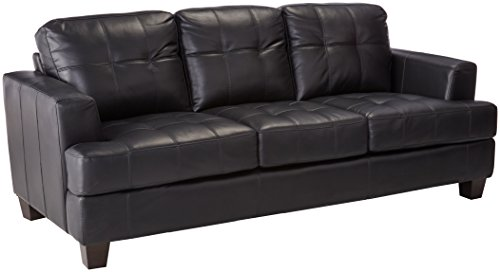 Coaster Home Furnishings  Samuel Modern Contemporary Track Arm Tufted Upholstered Stationary Three Seater Sofa - Black Faux Leather Samuel Black Bonded Leather