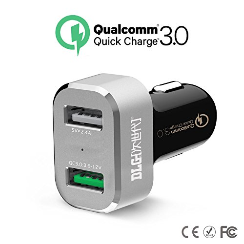 Price comparison product image DLG Quick Charge 3.0 Dual USB Port Car Charger Qualcomm adapter for Galaxy Note 5, S7/S7 Edge/S6/Edge/+,Nexus 6P/5X,LG G5, Phone7/6s/ Plus, iPad Pro/Air 2/ mini, LG, Nexus, HTC and more