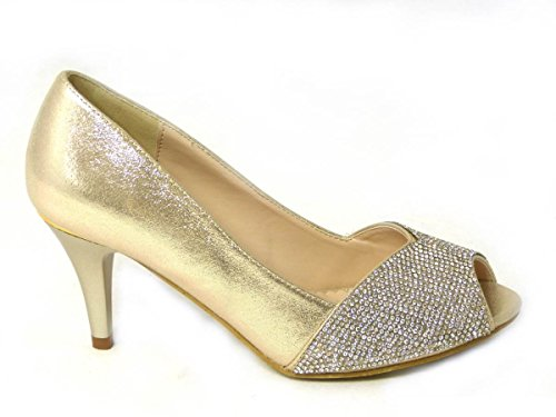 mariage 80367 Basse haut mariage Femme talon Mid Diamante Chaussures Taille Cour de Prom 06 Gold q0OxHWHwI5