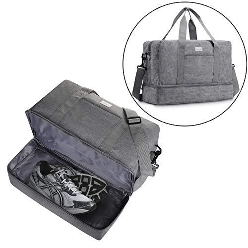 Gym Bag Shoes Compartment Travel Duffel Bag Swim Bag for Women and Men (Gray XL)