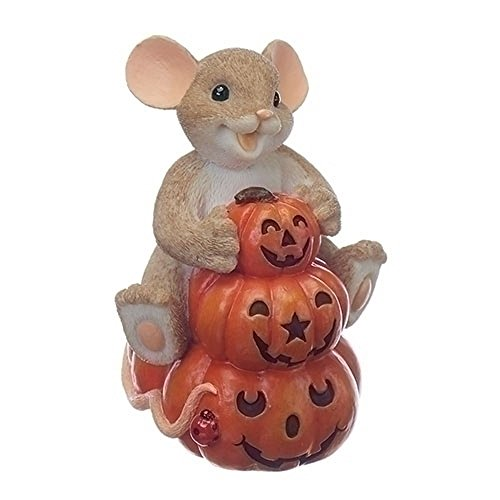 Pile of Jack-O-Lanterns with Mouse 3 Inch Resin Decorative Tabletop Figurine