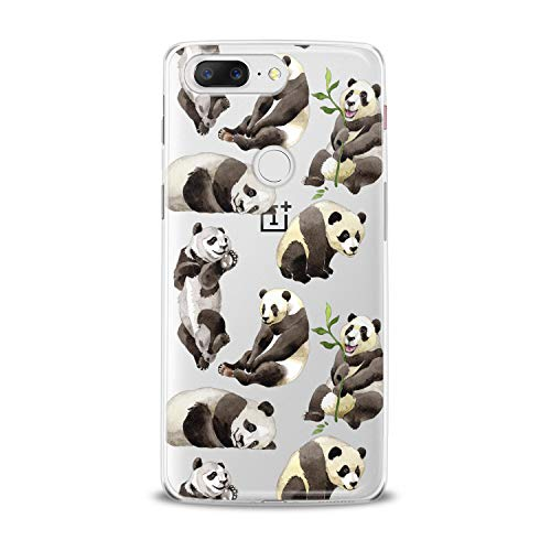 Lex Altern TPU Case for OnePlus 7 Pro 6T 6 2019 5T 5 2017 One+ 3 1+ Cute Watercolor Panda Phone Clear Cover Silicone Kawaii Pattern Printed Protective Kids Girl Design Transparent Women Simple Lady -
