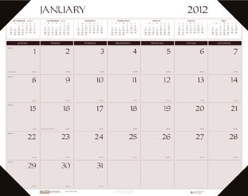 House of Doolittle Executive Dated Monthly Desk Pad Calendar, January-December, 2013, Non-Refillable, Brown Binding, 24 x 19 by House of Doolittle