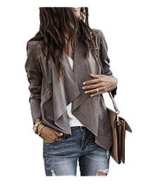 Lesimsam Women's Draped Front Faux Suede Jacket Cardigan Blazer Solid Coat Tops Outwear