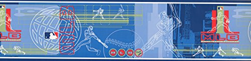 - Blue MLB Baseball Moves Wallpaper Border 5815435