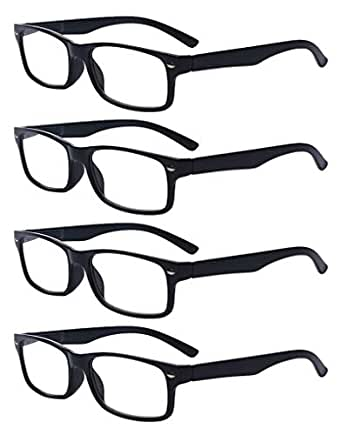 Outray Men Or Women 4 Pack Spring Hinges Frame Rectangular Reading Glasses 1.00