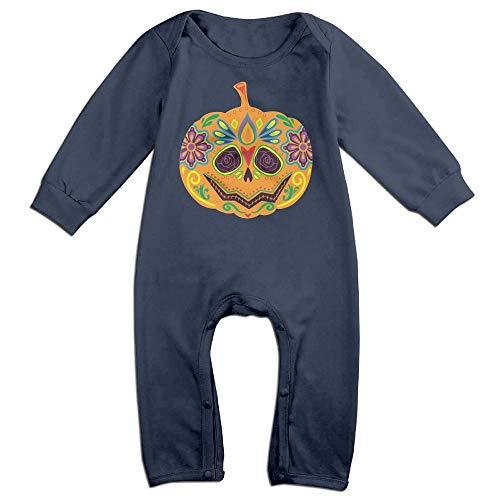 Toddler Baby Girls Printed Sugar Skull Pumpkin Scary Halloween Romper Jumpsuit Bodysuit -