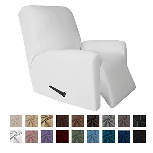 Easy-Going 4 Pieces Microfiber Stretch Recliner Slipcover - Spandex Soft Fitted Sofa Couch Cover, Washable Furniture Protector with Elastic Bottom for Kids,Pet (Recliner,Snow,White