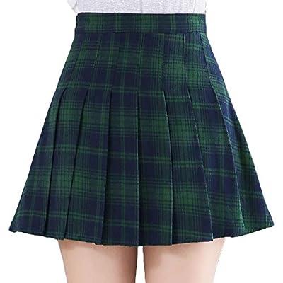 Moschifia Women's High Waist Pleated Plaid School A Line Mini Skirt Under Shorts