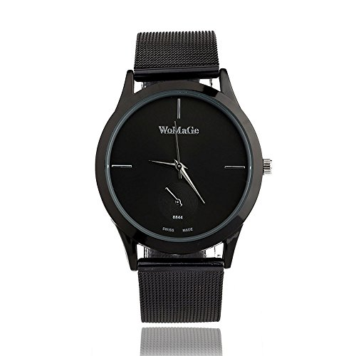 (WoCoo Analog Quartz Wristwatch for Women Mens - Matte Dial Watches with Stainless Steel Mesh Band - Gift for Her/He(Black))