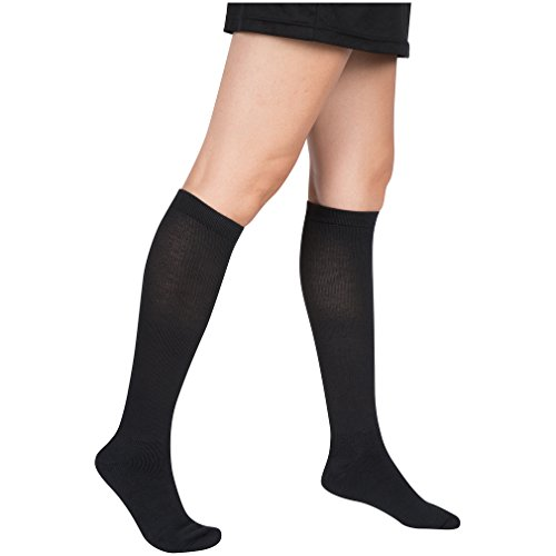 3 Pair EvoNation Women's Coolmax USA Made Graduated Compression Socks 15-20 mmHg Moderate Pressure Medical Quality Support Stockings - Best Fit, Moisture Wicking, Circulation, Travel (Medium, Black) by EvoNation (Image #2)